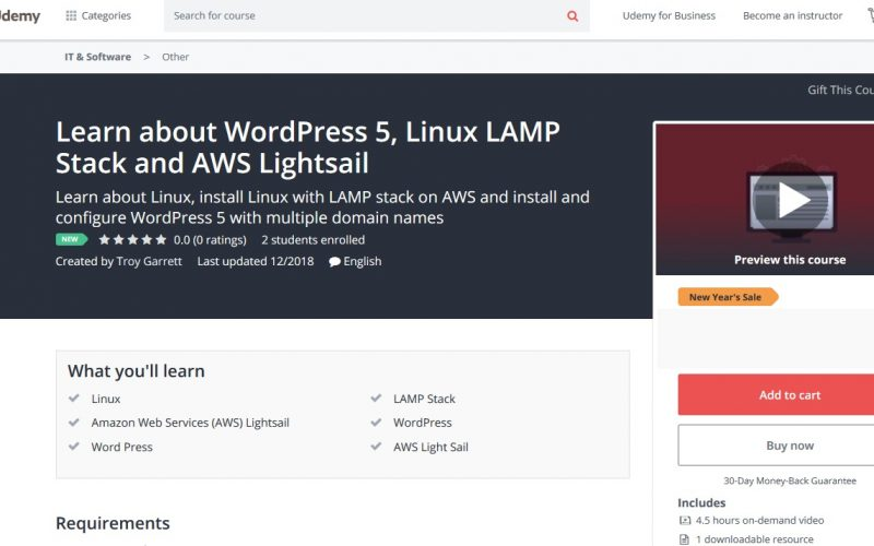 WordPress on LAMP Stack Course Title Page